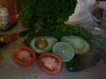 assembling guac ingredients