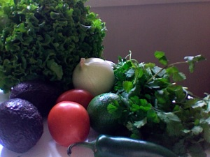 raw ingredients for guacamole